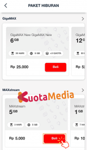 Paket MAXStream Di My Telkomsel 6