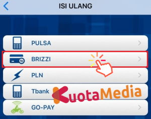 Top Up Brizzi Lewat BRI Mobile 3